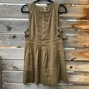 Free People Olive Linen Blend Mini Tank Dress